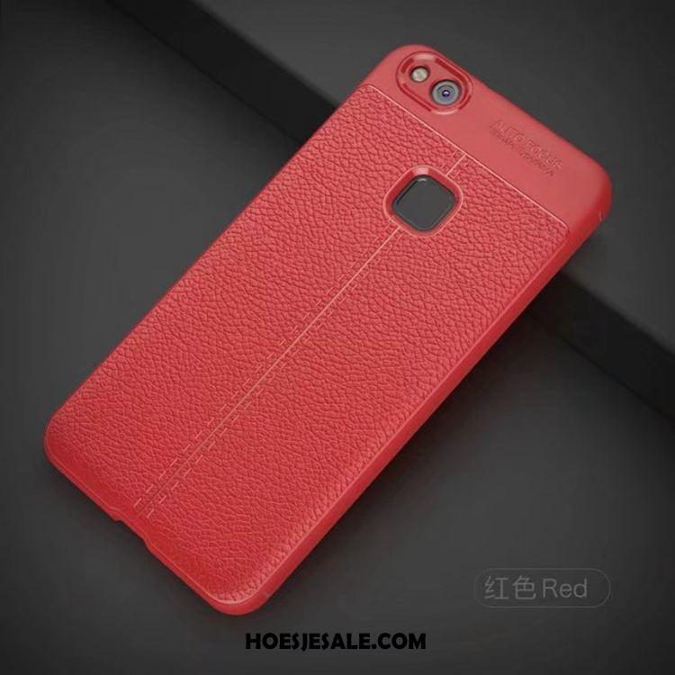 Huawei P10 Lite Hoesje Siliconen Kunstleer Rood All Inclusive Anti-fall Kopen