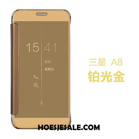 Samsung Galaxy A8 Hoesje Leren Etui Draak Ster Folio Spiegel Kopen
