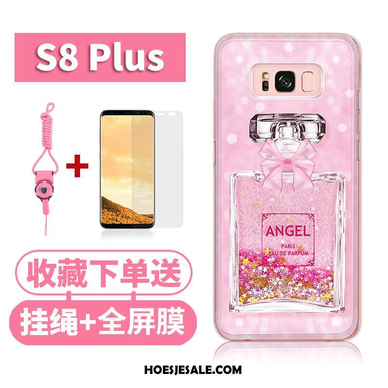 Samsung Galaxy S8+ Hoesje Vloeistof Bescherming Siliconen Drijfzand Roze Goedkoop