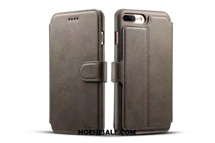 iPhone 8 Plus Hoesje Bescherming Portemonnee Folio Hoes Echt Leer Kopen