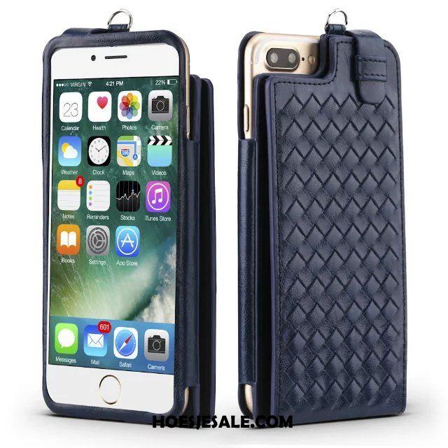 iPhone 8 Plus Hoesje Folio Leren Etui Hoes Weven Opknoping Nek