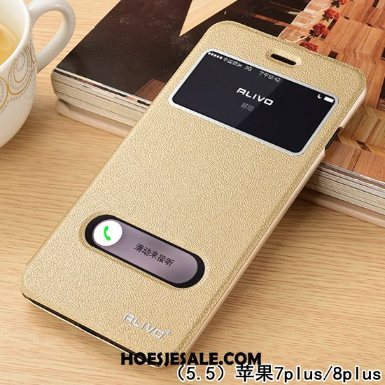iPhone 8 Plus Hoesje Leren Etui Mobiele Telefoon Clamshell Nieuw Persoonlijk