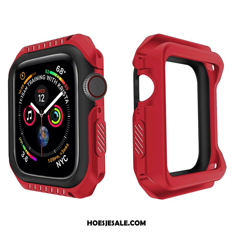 Apple Watch Series 4 Hoesje Twee Kleuren Omlijsting Sport Rood Siliconen Sale