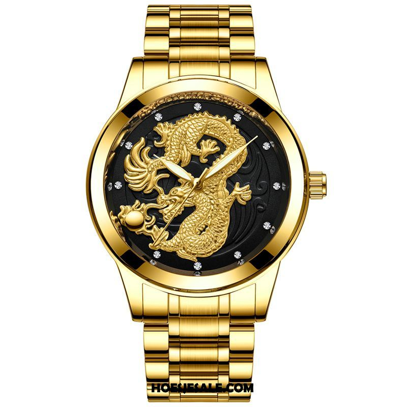 Horloges Heren Dragon Patroon Business Waterdicht Strass Student Sale