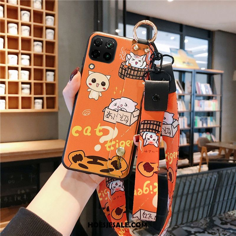 Huawei P40 Lite Hoesje Oranje Spotprent Lovers Anti-fall Net Red Korting