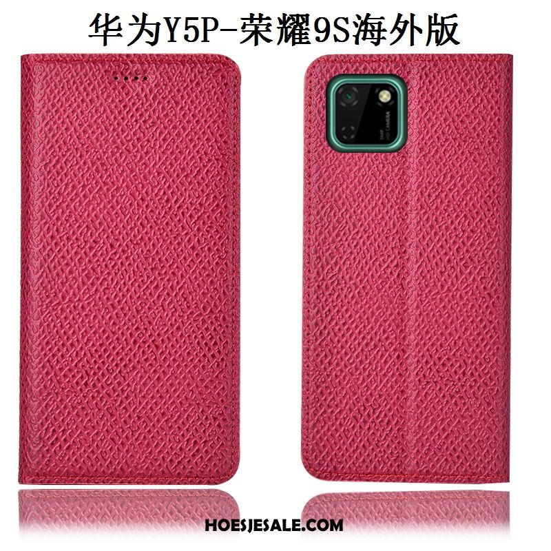 Huawei Y5p Hoesje Rood Anti-fall Mesh Patroon Folio Goedkoop