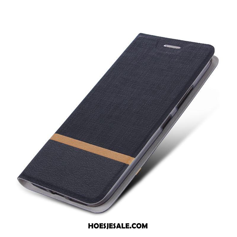 Huawei Y7 2019 Hoesje Bescherming Hoes Zwart Leren Etui Folio