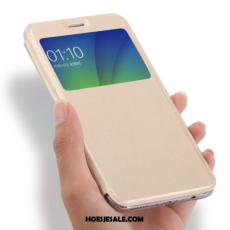 Oppo F5 Hoesje All Inclusive Hoes Leren Etui Clamshell Goud