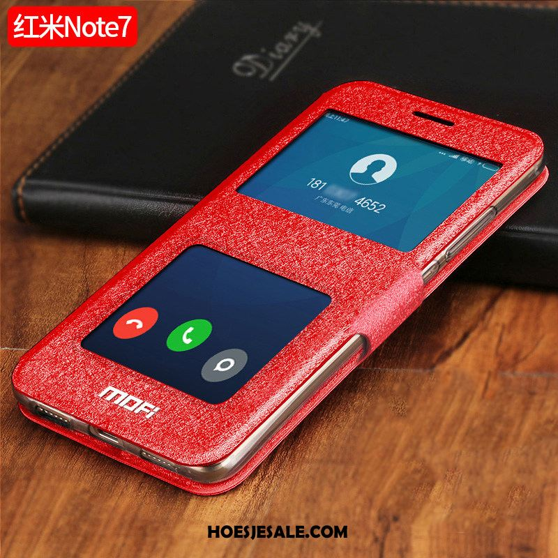 Redmi Note 7 Hoesje Rood Anti-fall Folio Windows Leren Etui Korting