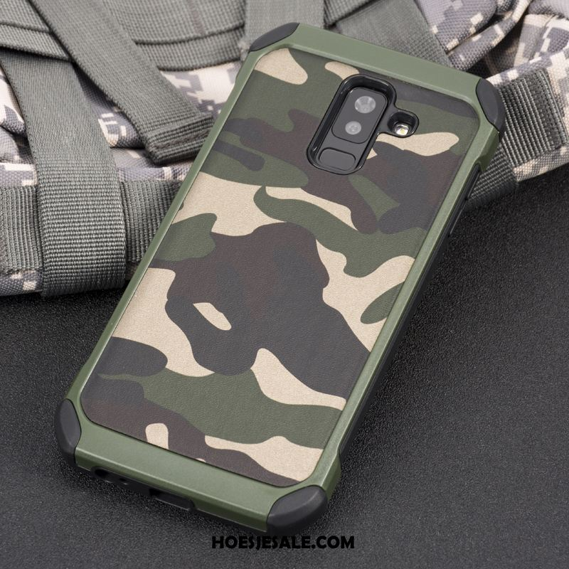 Samsung Galaxy A6 Hoesje Groen Camouflage Trend All Inclusive Bescherming Korting