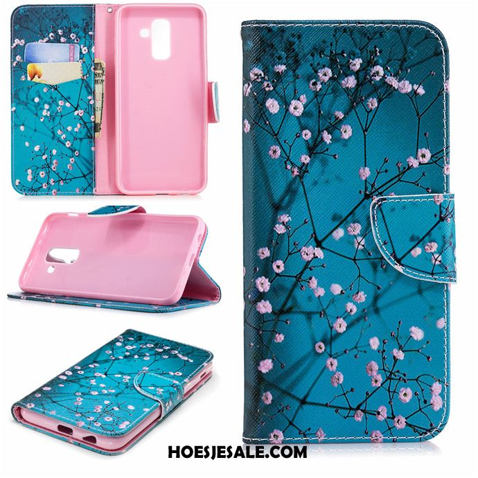 Samsung Galaxy A6+ Hoesje Leren Etui Hoes Clamshell Trend All Inclusive