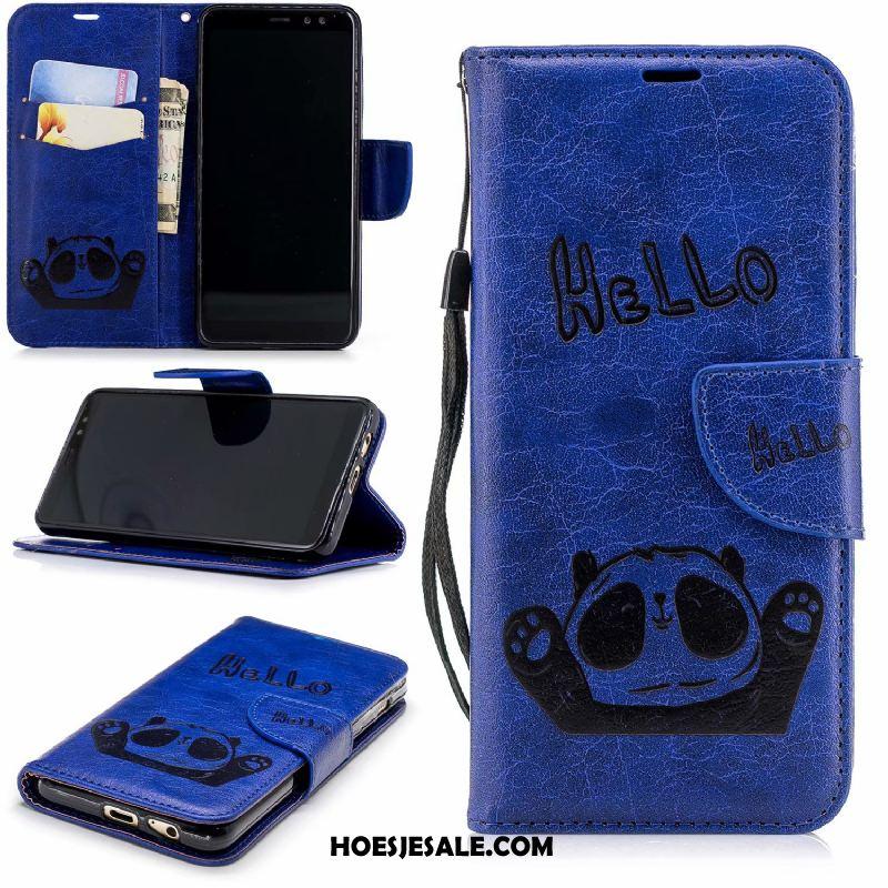 Samsung Galaxy A8 Hoesje Clamshell Blauw Leren Etui Ster Mobiele Telefoon Korting