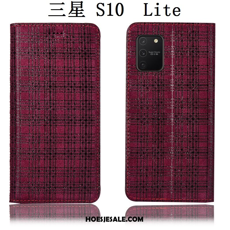 Samsung Galaxy S10 Lite Hoesje All Inclusive Folio Hoes Wijnrood Fluweel Sale