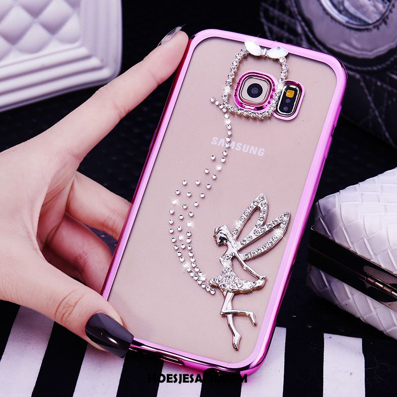 Samsung Galaxy S6 Edge Hoesje Met Strass Ster Roze Siliconen Hoes Sale