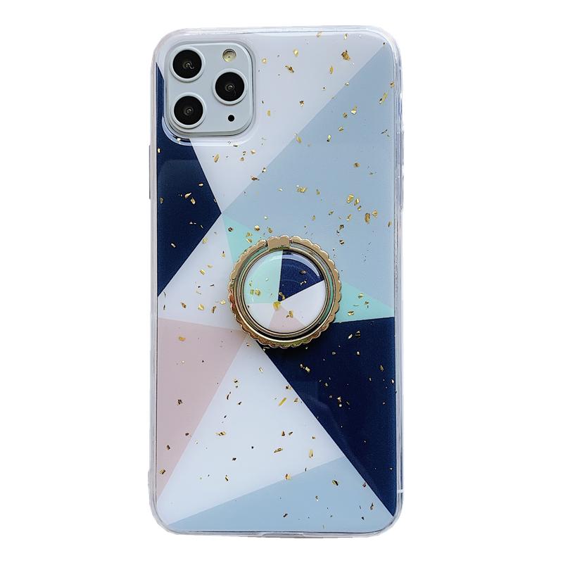 iPhone 11 Pro Hoesje Geometrie Blauw Persoonlijk Goud Siliconen Goedkoop