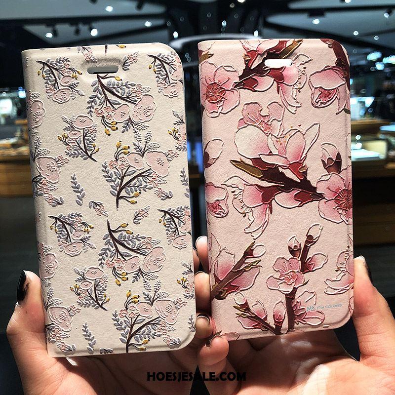 iPhone 7 Plus Hoesje Bloemen Reliëf Folio Roze Hoes Goedkoop