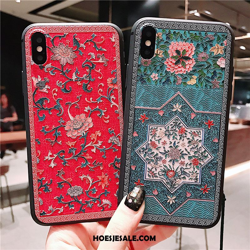 iPhone Xs Max Hoesje Chinese Stijl Opknoping Nek Kwasten Kunst Rood Korting