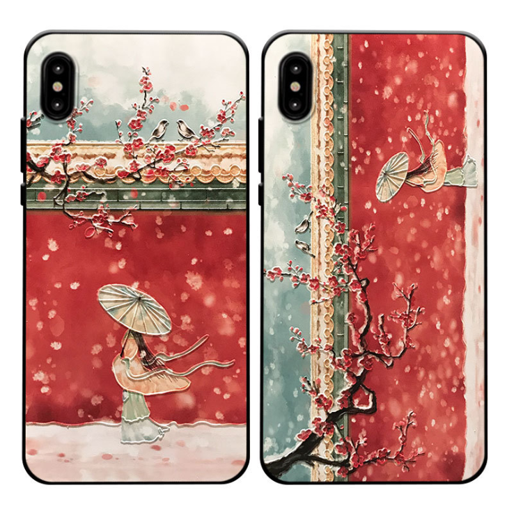 iPhone Xs Max Hoesje Paleis Mobiele Telefoon Chinese Stijl Wind Kers Korting